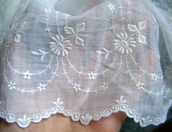 Antique French Embroidered Batiste Fabric C 1900s
