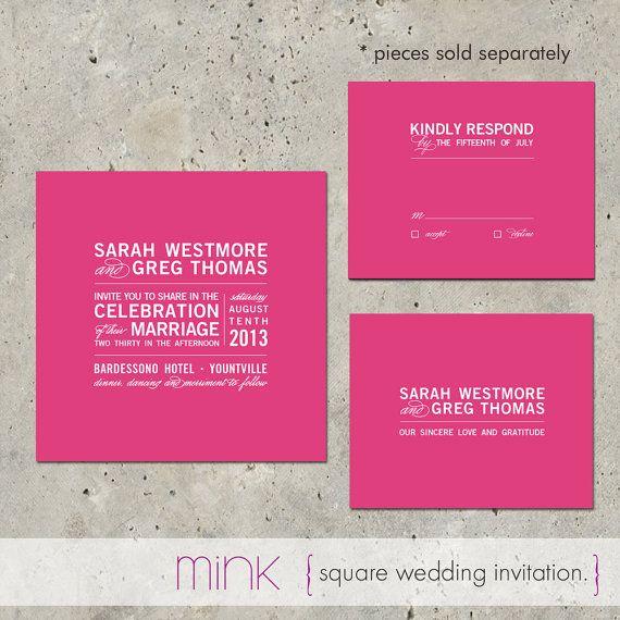 Hochzeitseinladung+Quadrat+moderne+Fett+Typografie++von+minkcards