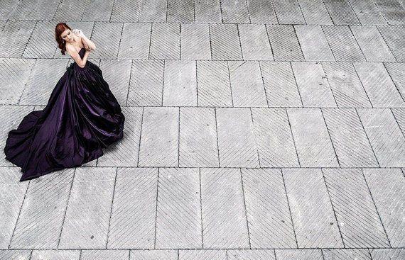 Gothic Wedding Dress Dark Princess Wedding Dress Purple