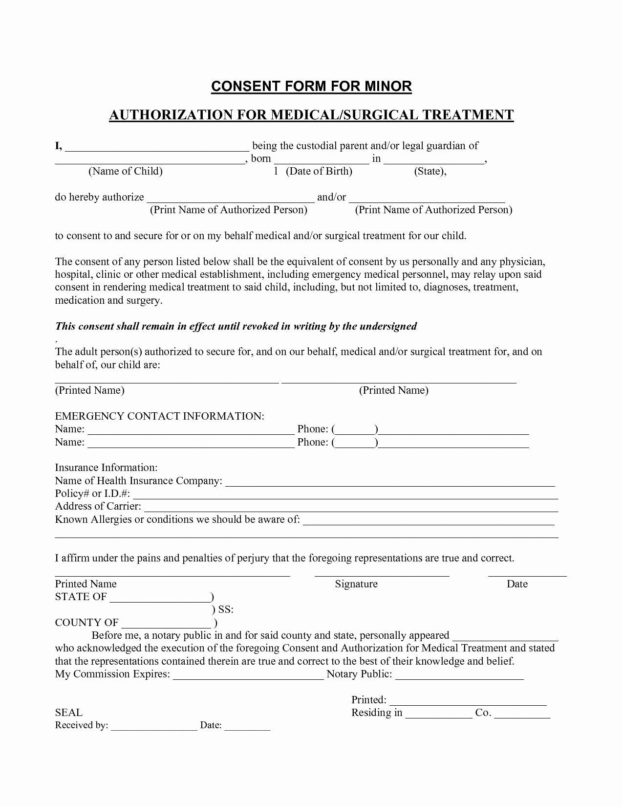 Medical Consent form Template Elegant Medical Consent form