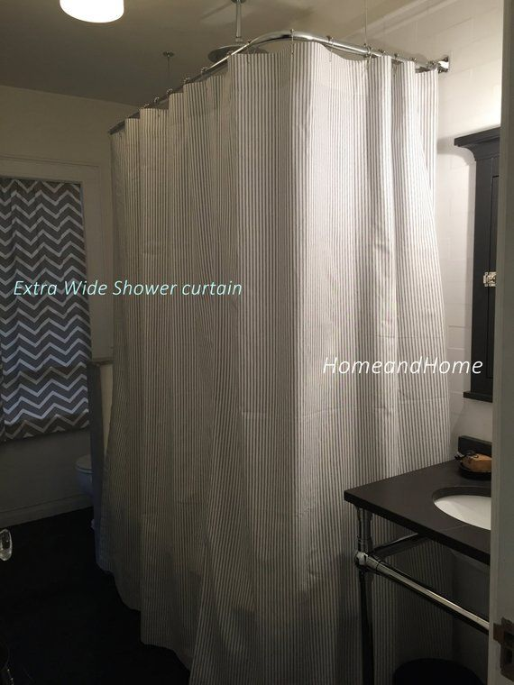 Custom Fabric Shower Curtain Ticking Stripe Berlin Sand Off White