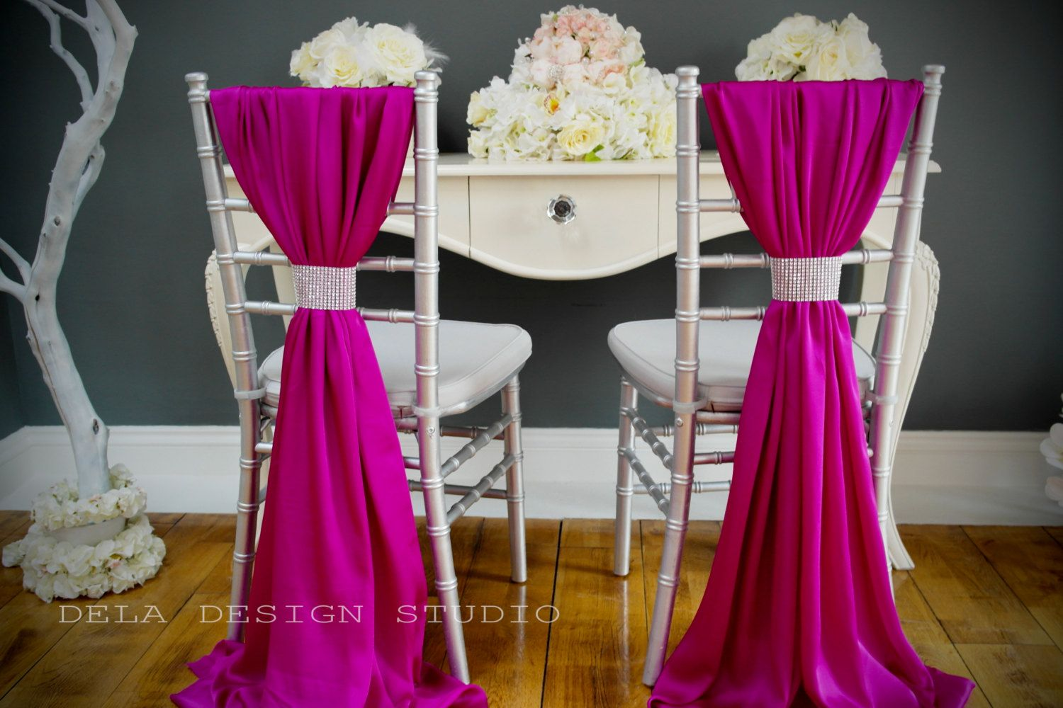 Buy Chair Covers And Sashes Folding Ikea Silky Satin Cover Sash Magenta Wedding Decor