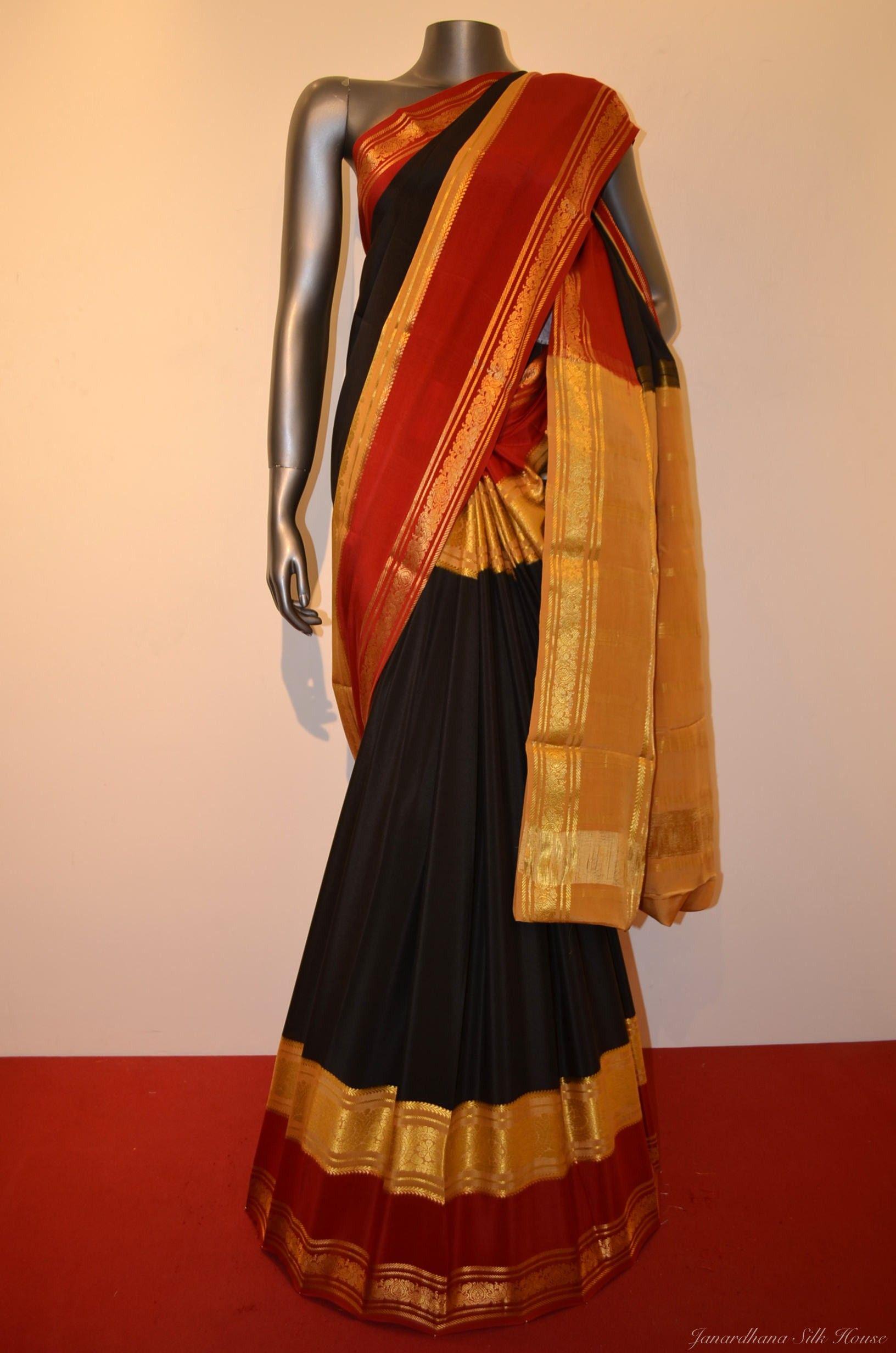 2b7a36b173e3ad Buy Special Classic Heavy Pure  Mysore Crepe  Silk  Saree With Classic  Plain Weave And A Rich Double Contrast Zari Border.  PureSilk   designersaree  fashion ...