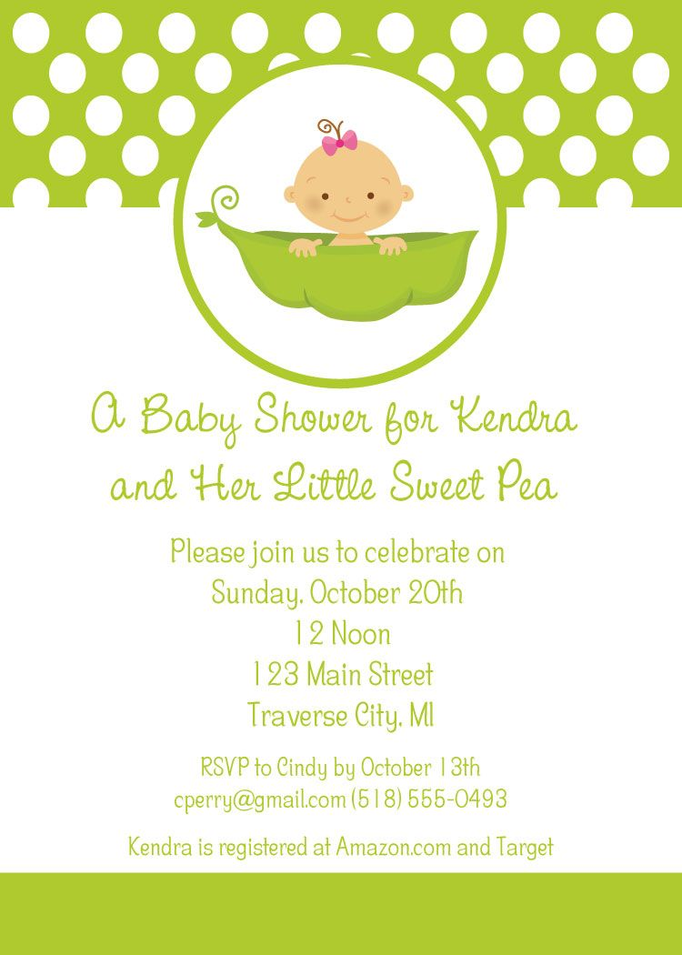 Little Sweet Pea Baby Shower Invitations | Baby Shower Ideas ...