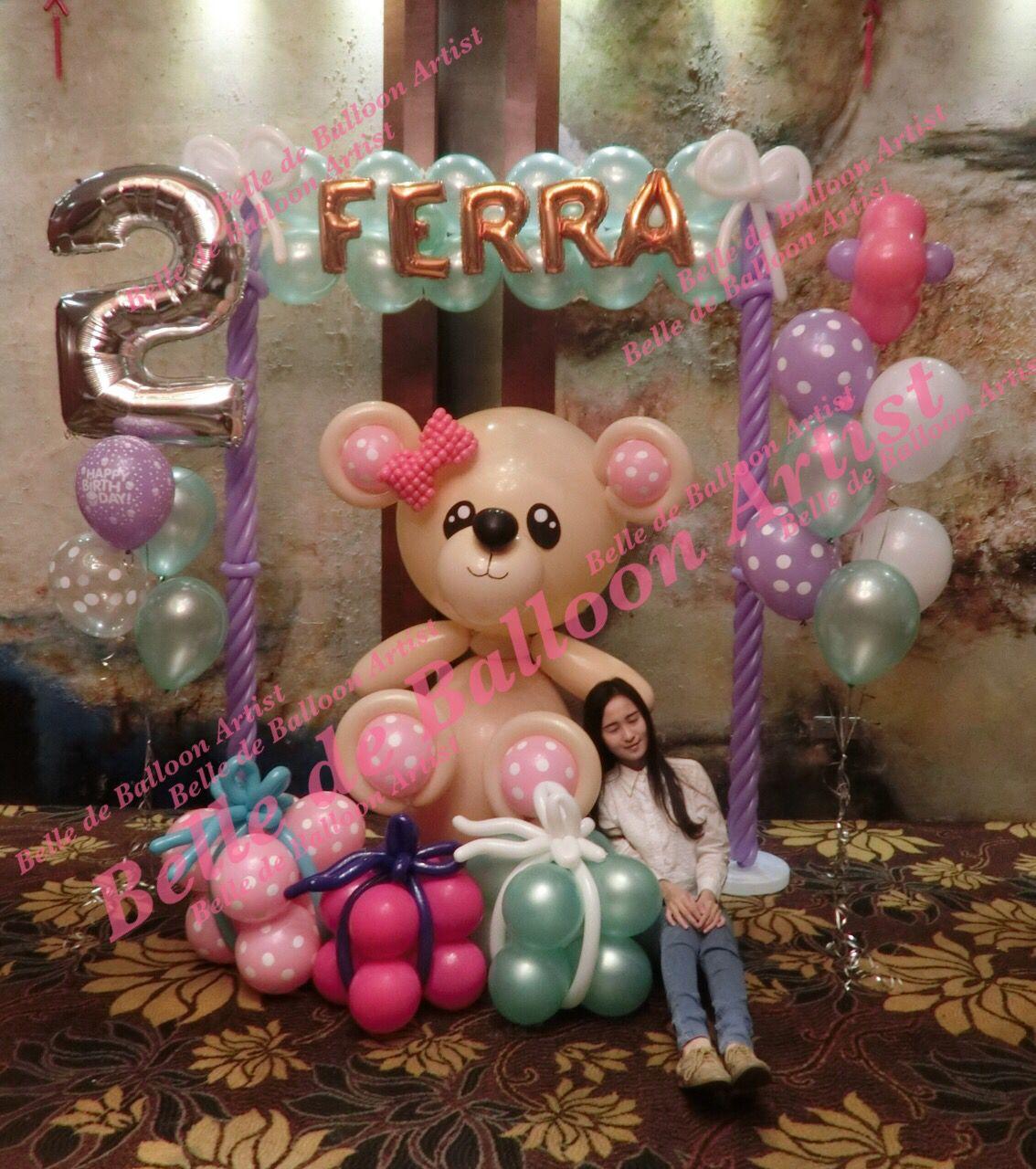 Custom made Giant Balloon Teddy Bear by Balloon Artist KellySashimi from Belle de Balloon Artist. Birthday Balloon Decoration in Pavilion, Kuala Lumpur Malaysia