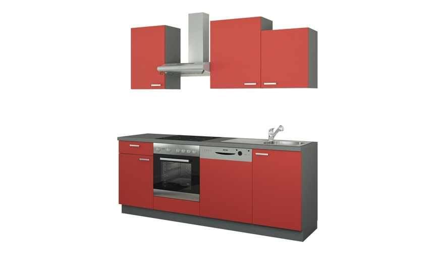 Küchenzeile mit Elektrogeräten Erfurt ¦ rot ¦ Maße (cm) B 220