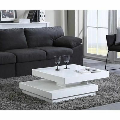 Vegas Table Basse 75x75cm Laque Blanc Brillant Table Basse Transformable Table Basse Table Basse Carree