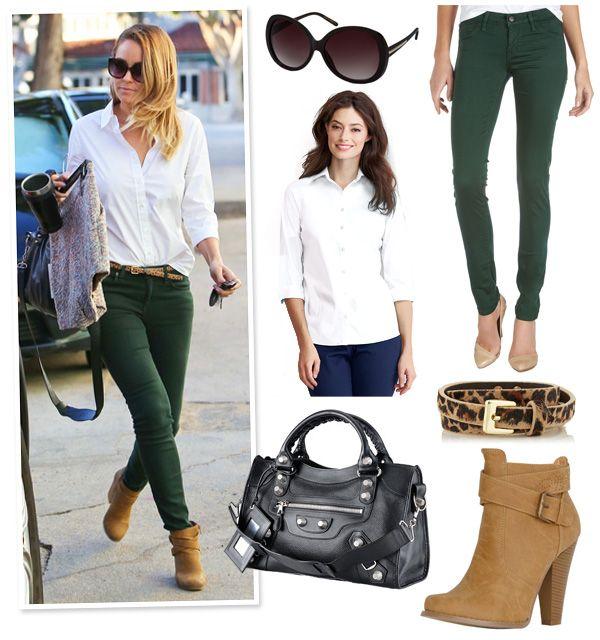 Lauren Conrad's Crisp White Shirt & Forest Green Skinny Jeans Look ...