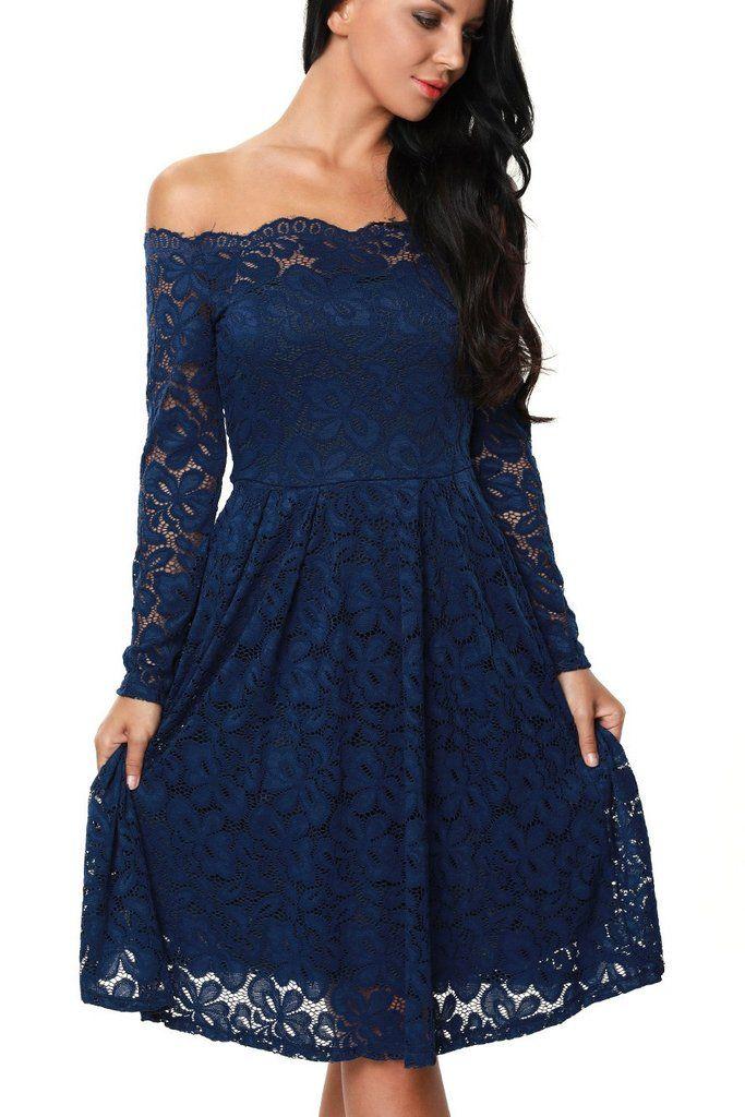 Robe de soiree bleu manche longue