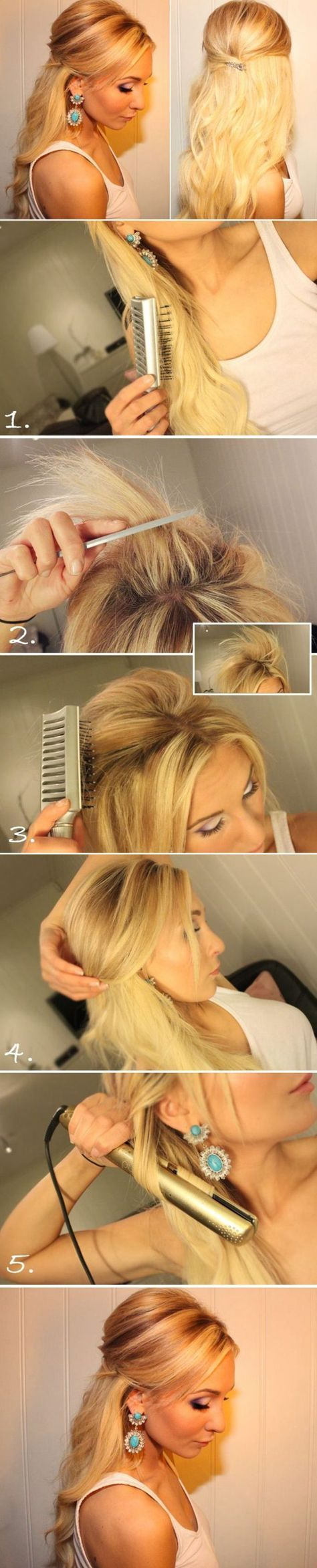 Teased half up half down hairstyle tutorial easy prom hairstyles