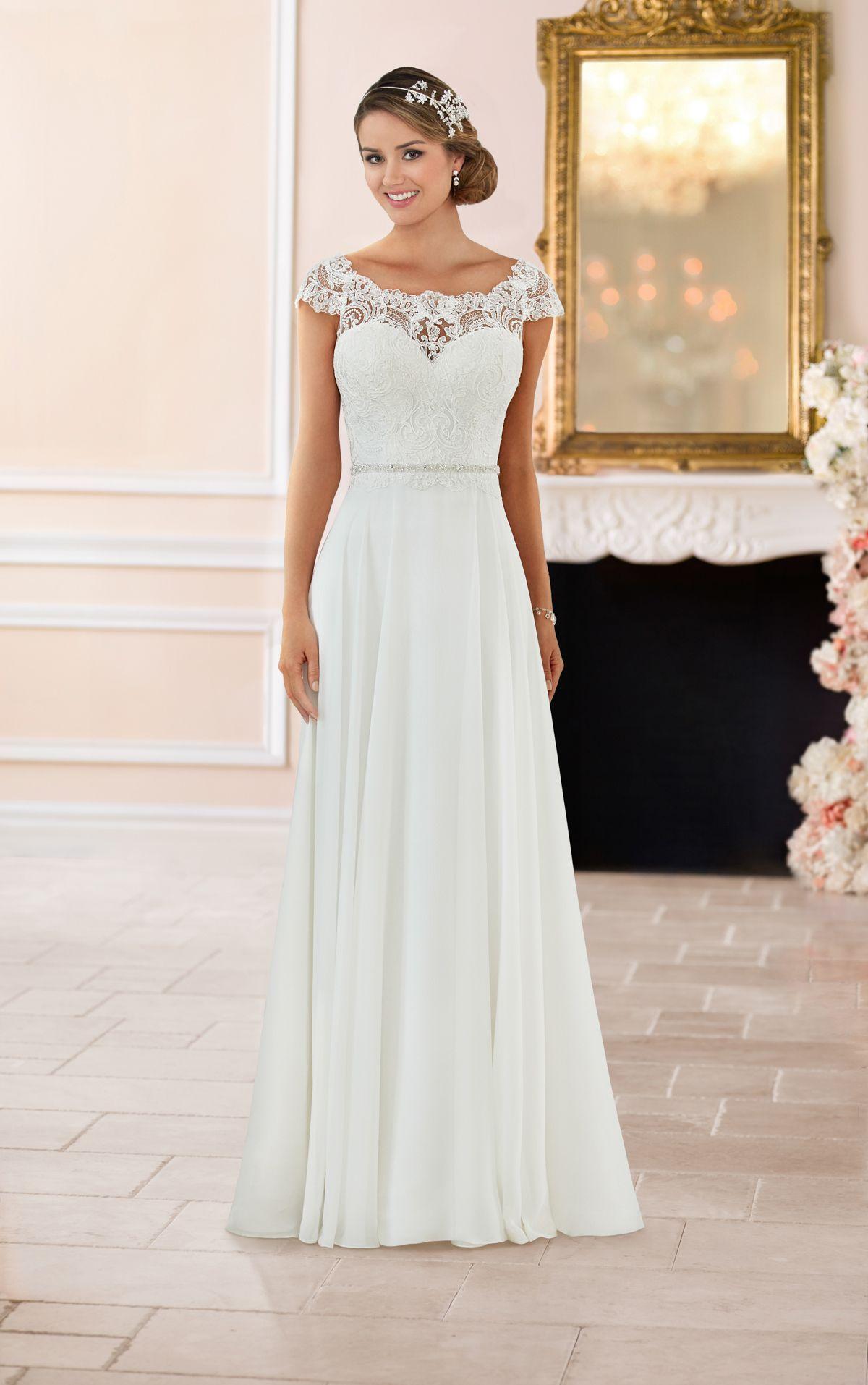 Brautkleid mit cap-ärmeln und rücken aus spitze