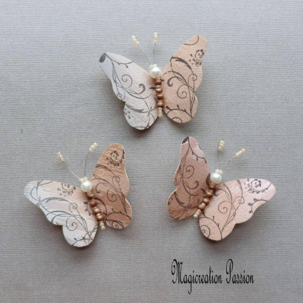 papillons soie beige gris arabesques