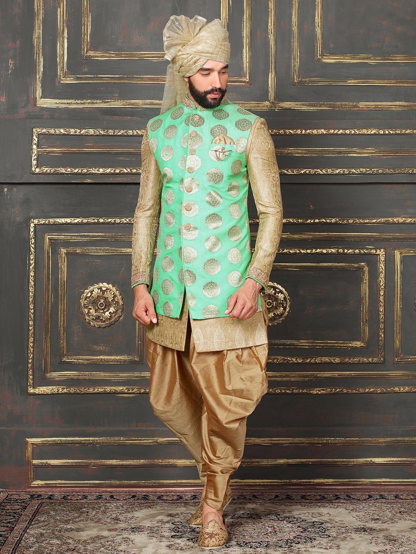 74eb27fd1 Green Beige Silk Indo Western. Green Beige Silk Indo Western Kurta Pajama  Men, Groom Outfit, Groom Dress, Wedding