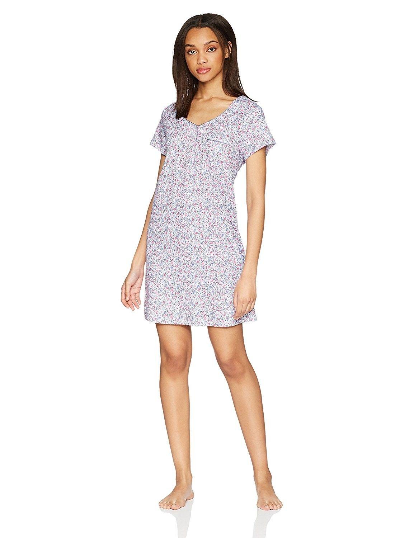 Women s Short Sleeve Sleepdress Pajama PJ - Ditsy Magenta ... 96e3232bd