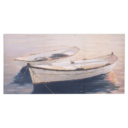 An artful addition to your entryway or living room conversation space, this lovely print features a rowboat motif with gold overpaint details.
