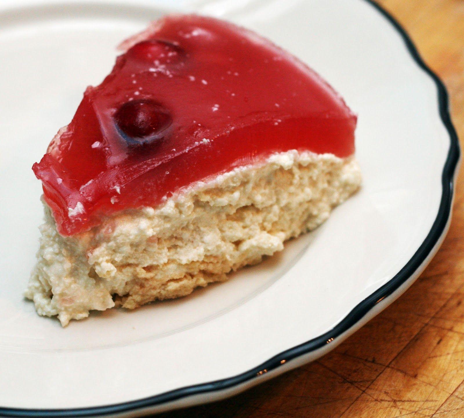 Sernik Na Zimno (Polish Cheesecake with Cranberry Topping)