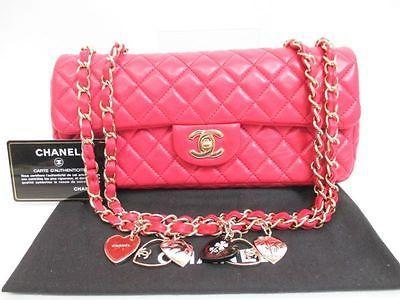 Auth-CHANEL-Lamb-Leather-Matelasse-Red-Valentine-Limited-Shoulder-Bag-3576