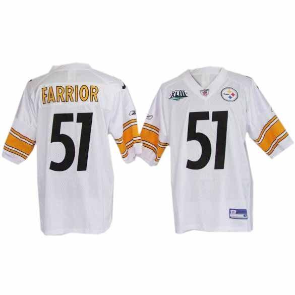 san francisco 4bd3e bd6de 51 Super Bowl James Farrior White Pittsburgh Steelers Jersey ...