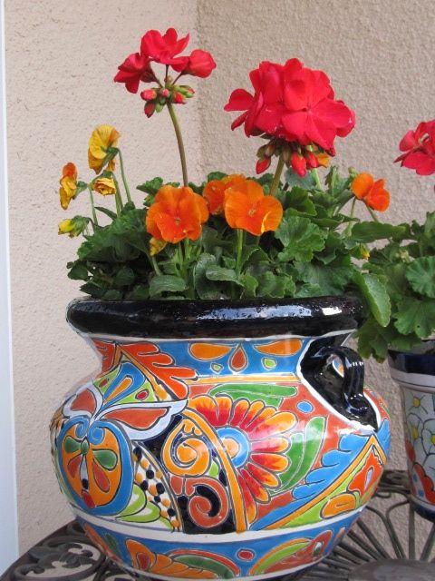 Planting Ideas For Talavera Pots Google Search Mexican Hacienda Decor Ceramic Flower