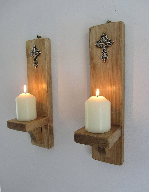 Pair Of Church Gothic Style Wall Sconce Candle Holders With