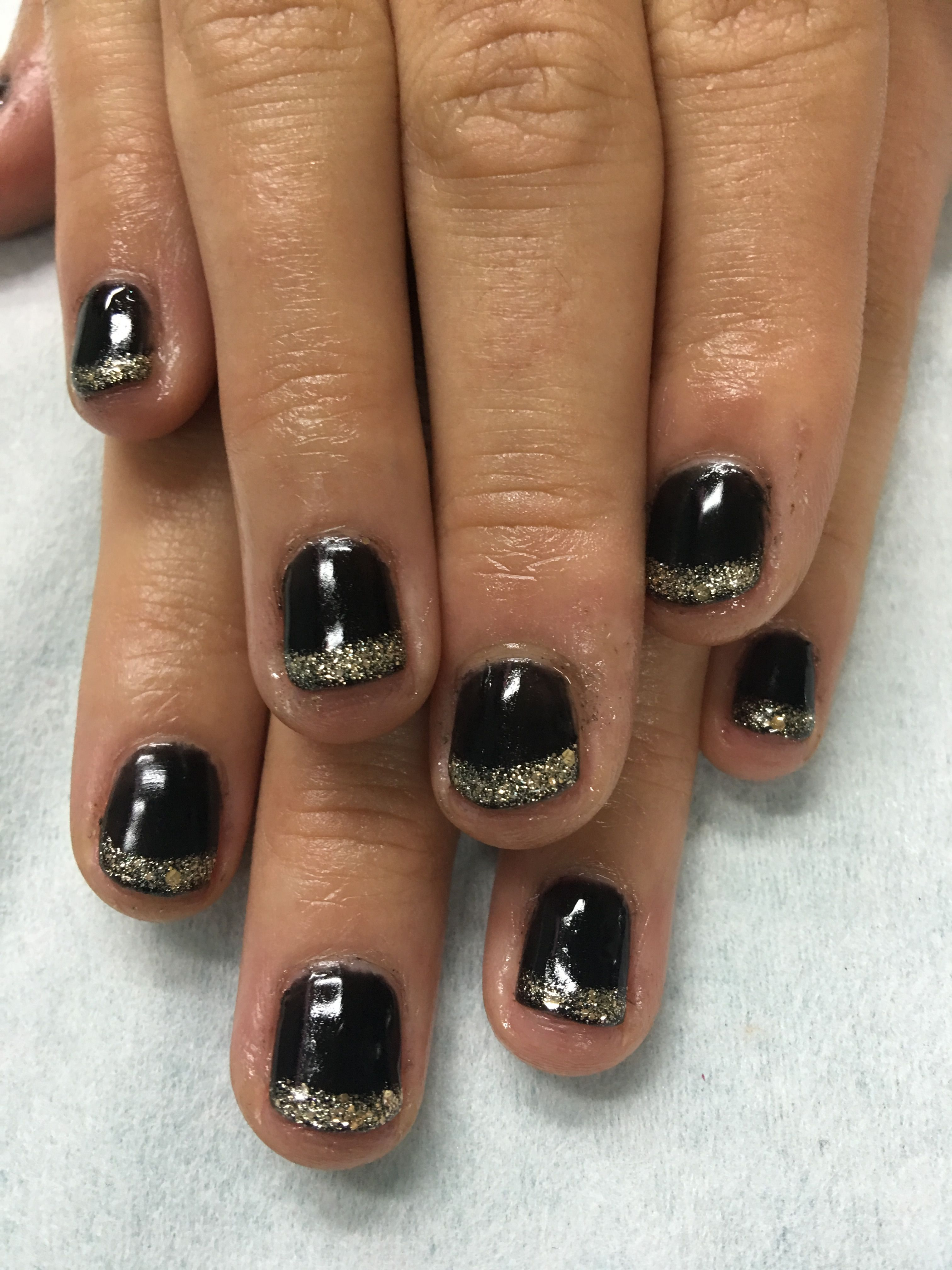 Black and Gold Glitter French gel nails | Gel Nail designs | Pinterest