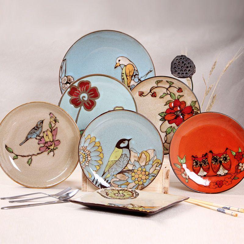 European Style 8*inch Dia Bone China Ceramic Flat Plates Cartoon Pattern Porcelain Tableware Salad & European Style 8*inch Dia Bone China Ceramic Flat Plates Cartoon ...