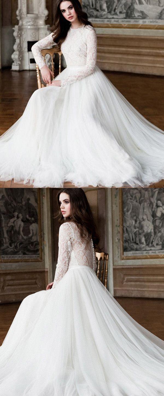 Elegant tulle u lace jewel neckline aline wedding dresses with long