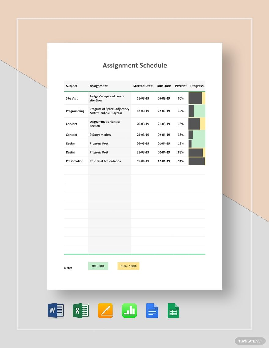 Assignment Schedule Templates Schedule Templates Schedule