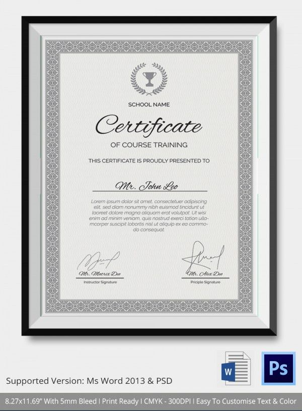Training Certificate Template  Free Word Pdf Psd Format Template