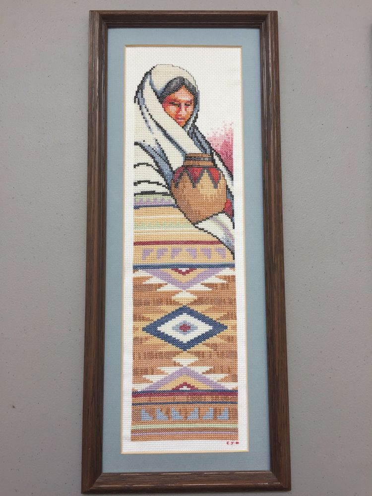Completed The Straw Basket Aida Roger Reinardy Cross Stitch Framed Southwest