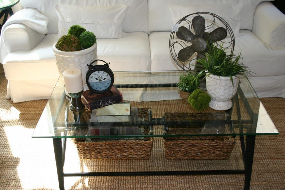 Furniture Square Glass Coffee Table Decorating Idea With Shabby Chic Natural Centerpiece Idea How T Glass Coffee Table Decor Diy Living Room Decor Coffee Table