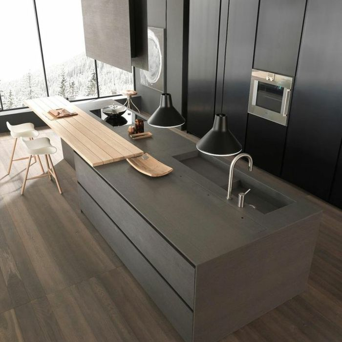 Moderne Graue Kuche Mit Kochinsel Design Architecture Pinterest