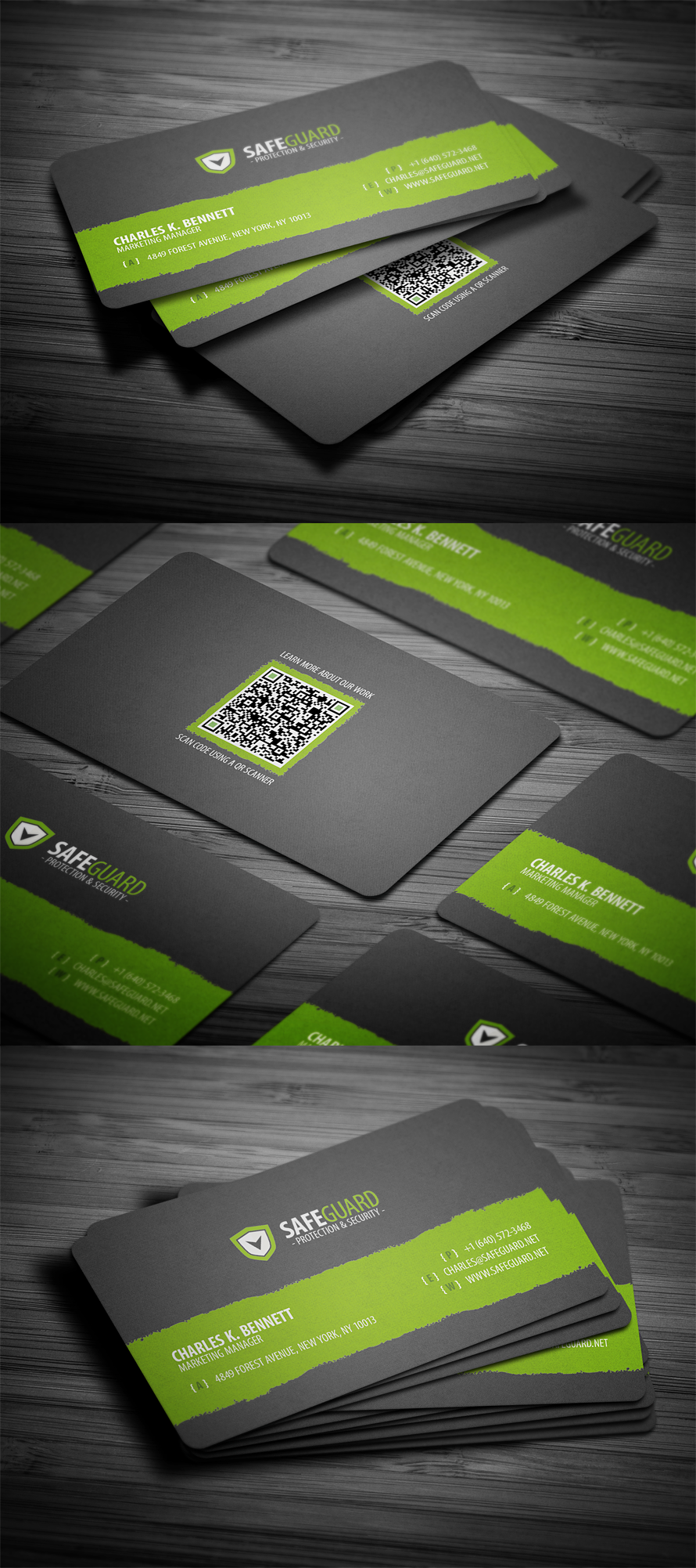 simple rounded business card template with qr code available for