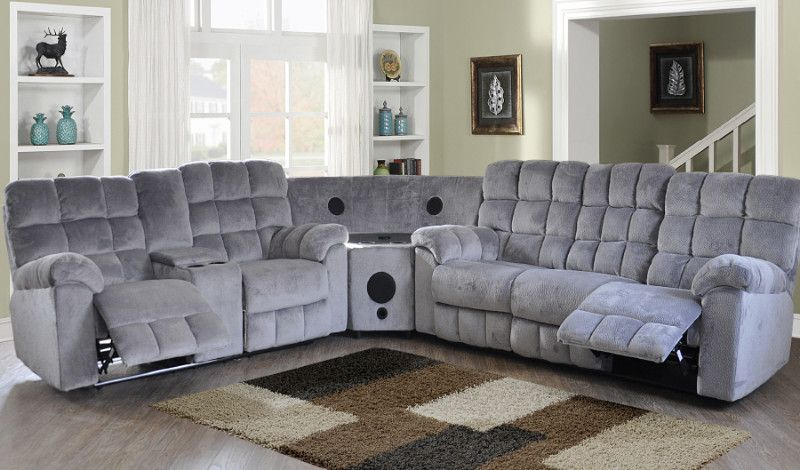 3 Pc Red Barrell Studio Navarra Java Gray Champion Fabric Recliner Ends Speaker Wedge Sectional Sofa Sectional Sofa Reclining Sofa Sofa