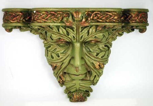Greenman Wall Bracket by New Age. $32.15. A wonderful accent for your home or sacred space, this wall piece stylizes the ancient image of the Greenman as a wall bracket to accent your home or sacred space. With vivid attention to detail the piece has been sculpted from cold cast resin to form the leafy features of the Greenman as though they were sculpted from aged copper. The result is a hauntingly beautiful image of eyes that could be almost sad, framed as they are in...