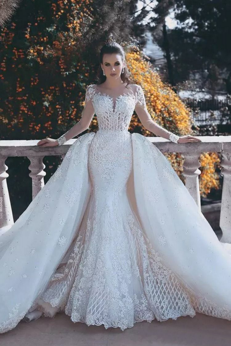 549d500fd97 Manga Larga sirena con cola desmontable vestido de novia de Tulle ...