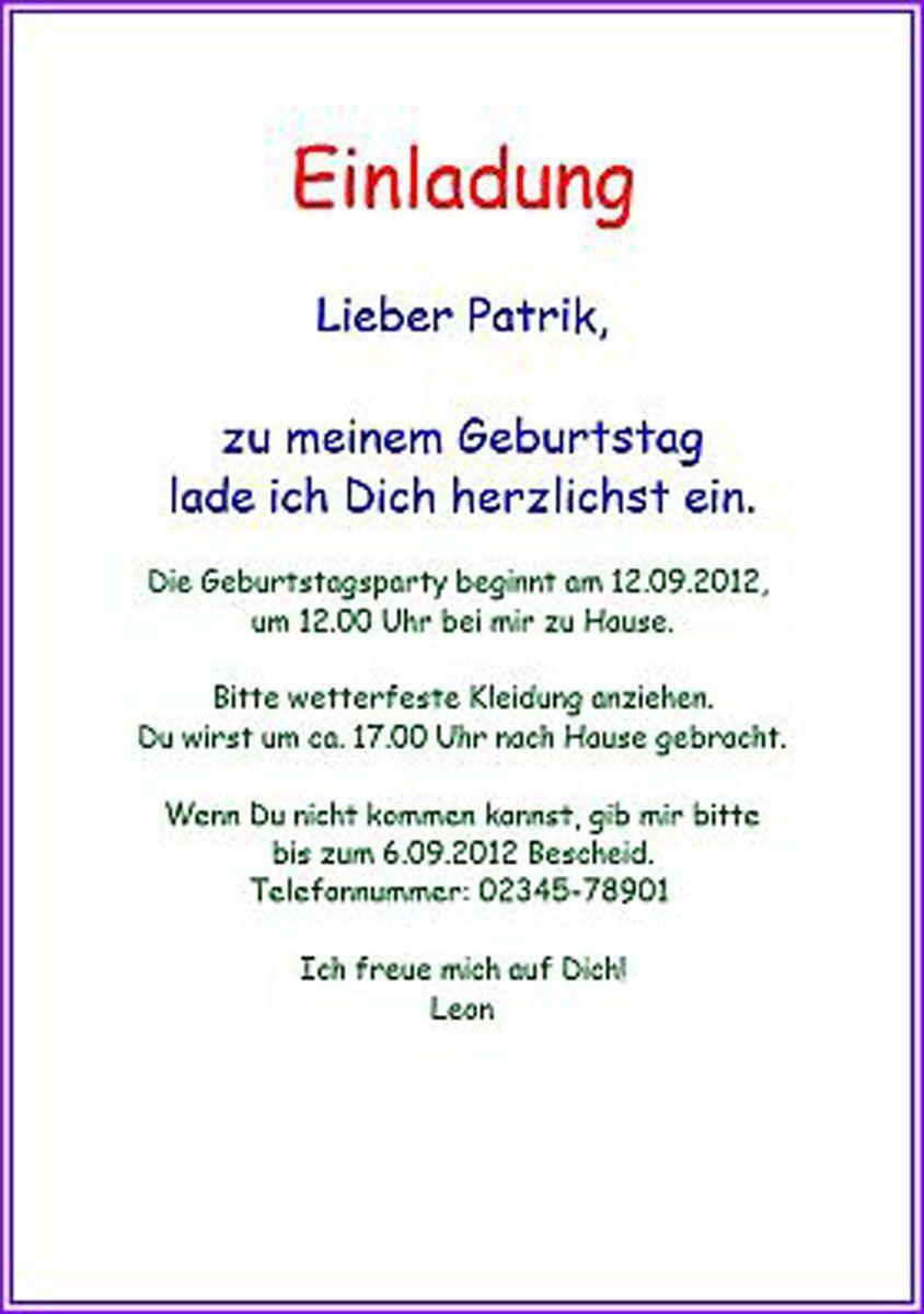 Einladungskarten Geburtstag Texte Einladung Kindergeburtstag