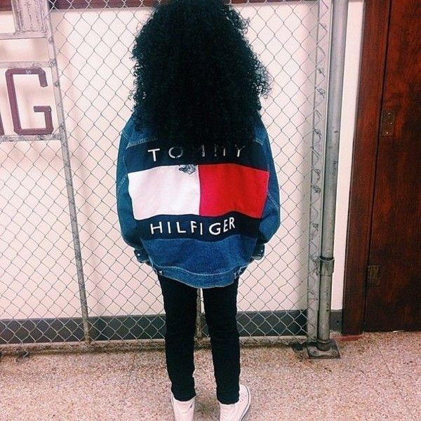 Jacket: tommy hilfiger denim denim vintage vintage denim popular... ❤ liked on Polyvore featuring outerwear, jackets, vintage jacket, urban jackets, vintage denim jacket and denim jacket