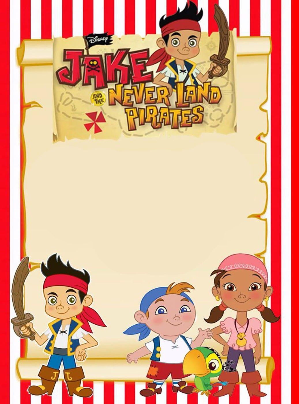 Printable Jake and Neverland Pirates Invitation Template ...
