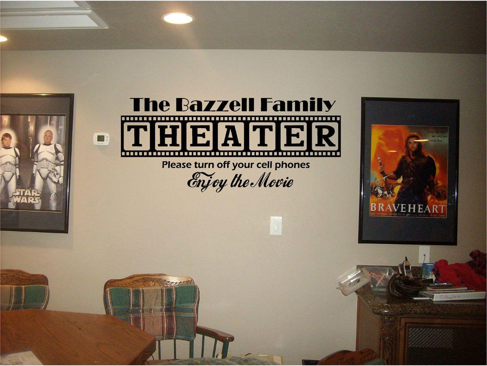Home Theater Sign Personalized Family Name Vinyl Lettering Wall Art Mural  Decal