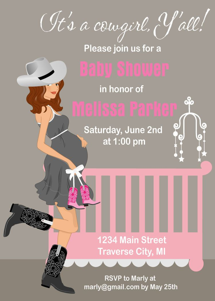Cowgirl Baby Shower Invitations | Shower invitations, Cot and Babies