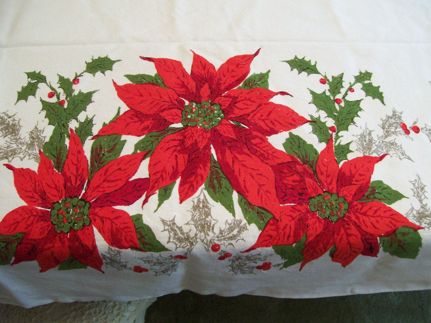 shabby chic easter decor on sale.htm vintage poinsettia tablecloth holiday christmas table cloth by  vintage poinsettia tablecloth holiday