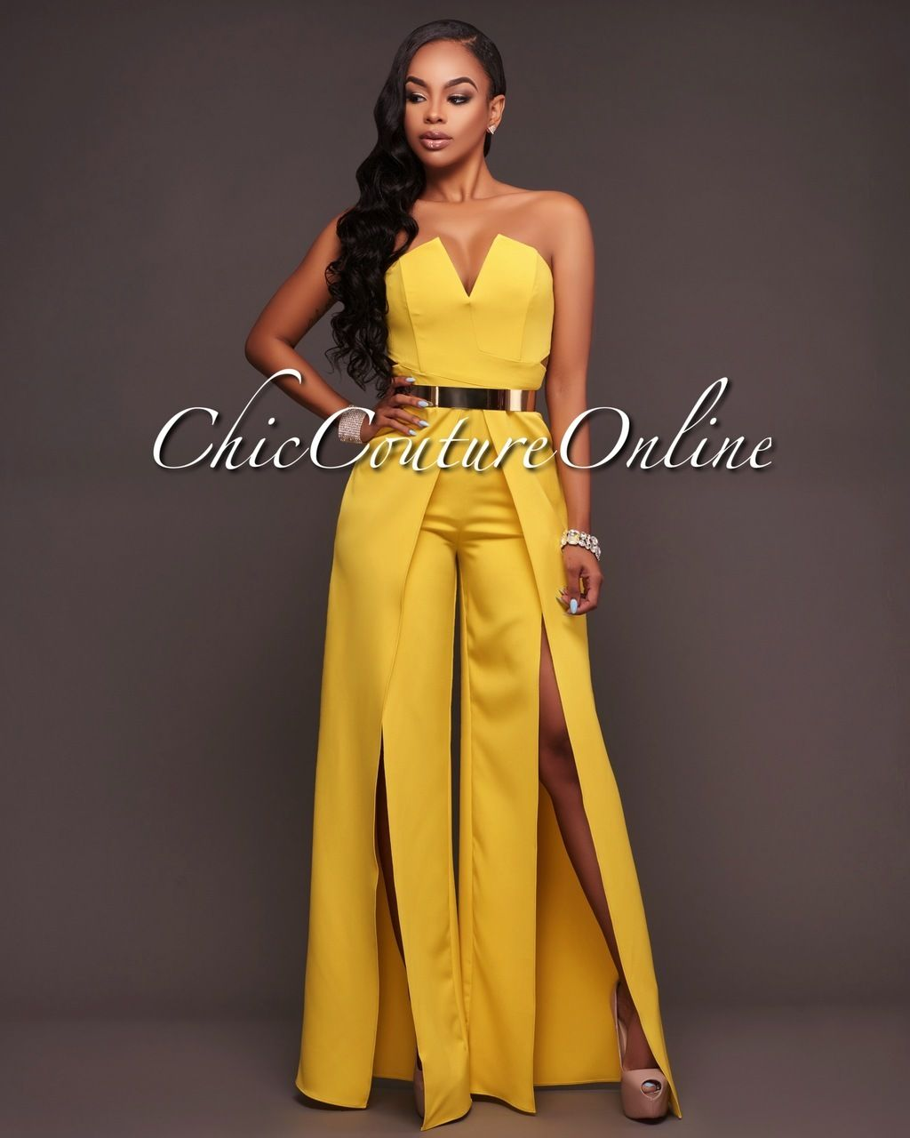 4420515a112 Chic Couture Online - Jaiden Lime Yellow Wide Slit Legs Jumpsuit