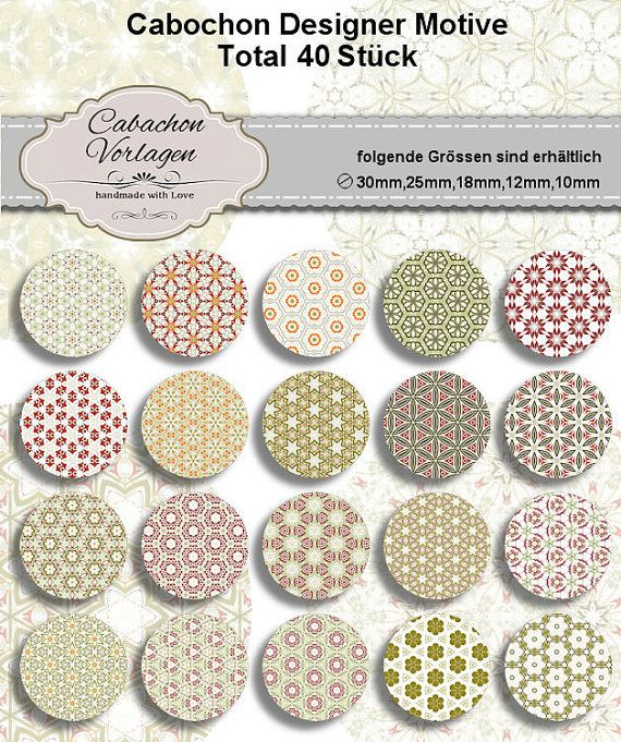 Printable Digital Collage Sheet Circles Cabochon Earring | Pinterest ...
