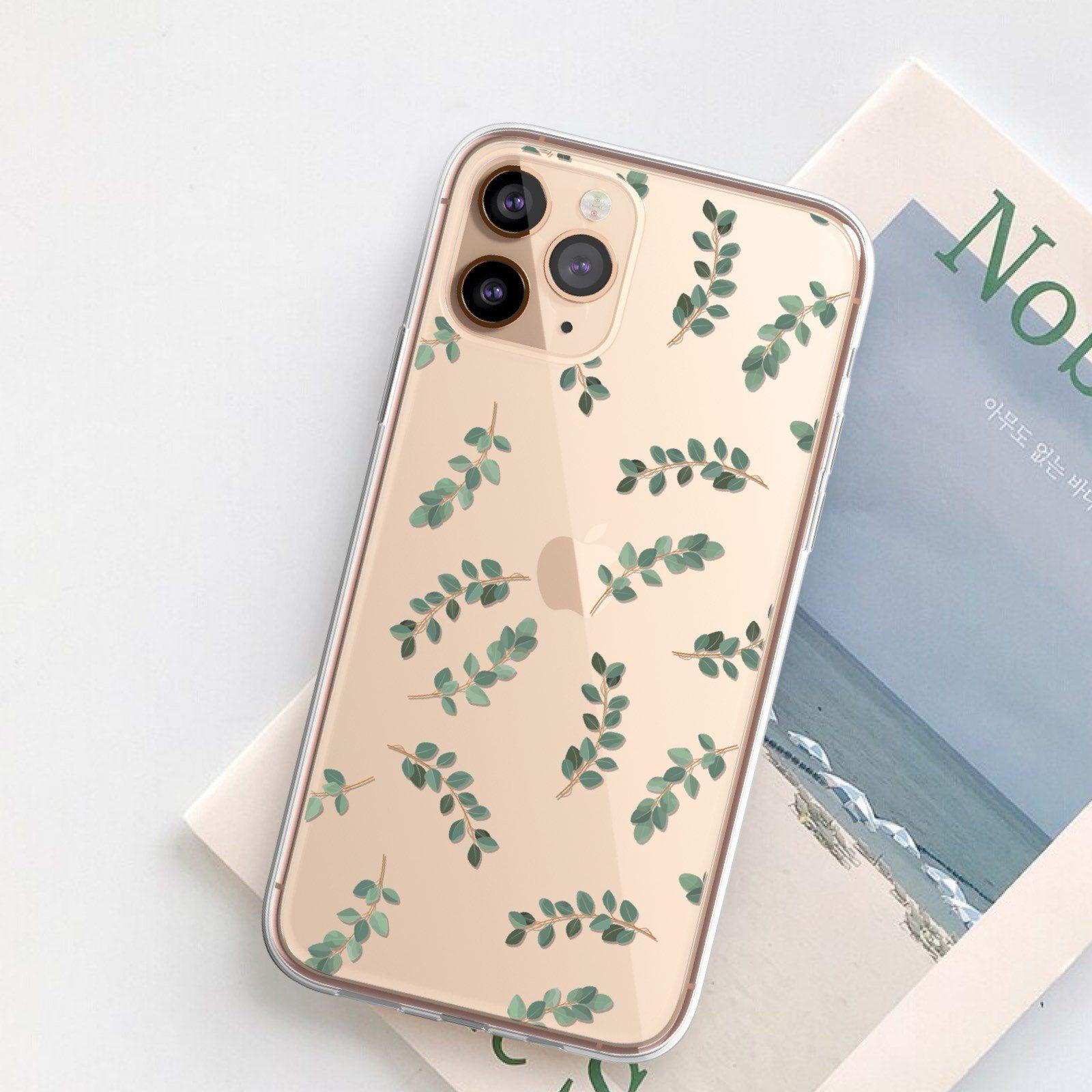 Cute eucalyptus leaves case for iphone 12 mini 11 pro 7 8