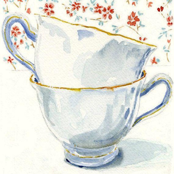 ENGLISH TEACUPS Still Life  Art Print of Original Watercolor Painting -- Teacups 5 on Etsy, $29.00