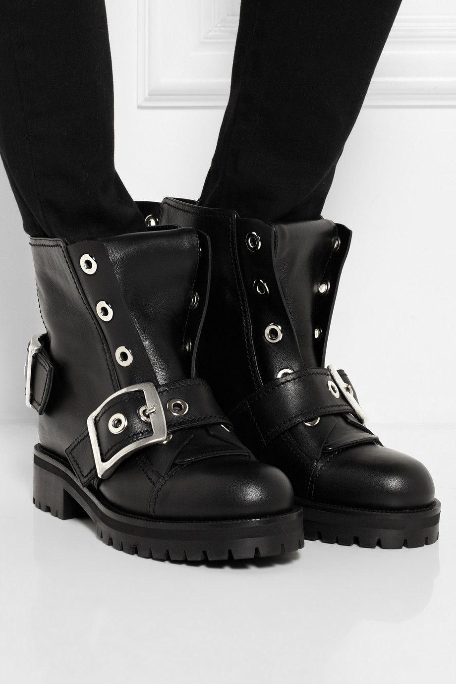 Black Buckled leather biker boots