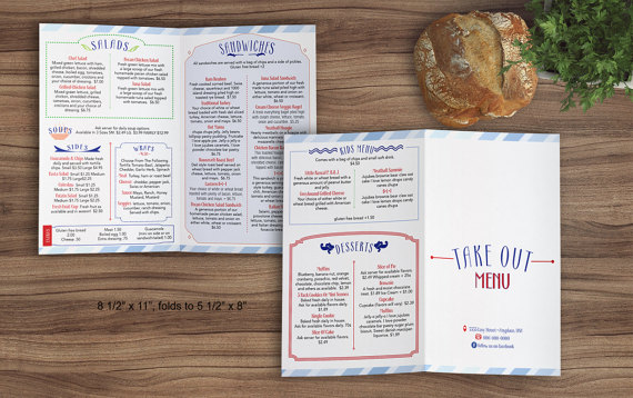 sandwich shop restaurant bi fold letter sized menu template