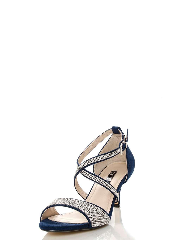 91446efe7 Womens  Quiz Navy Diamante Low Heel Sandals- Navy