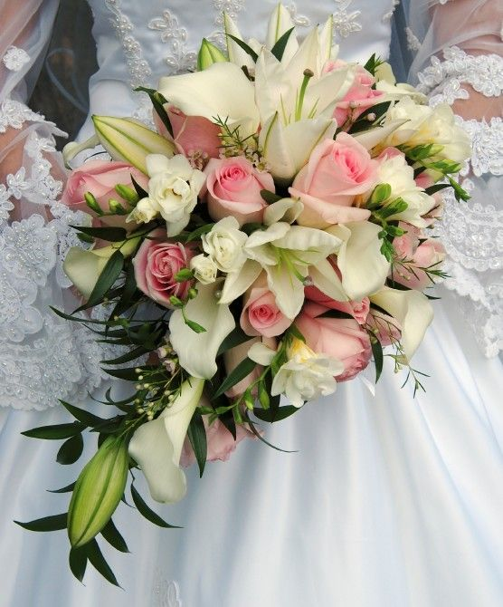 Wedding Bouquet With Lilies And Roses Bouquet Of White